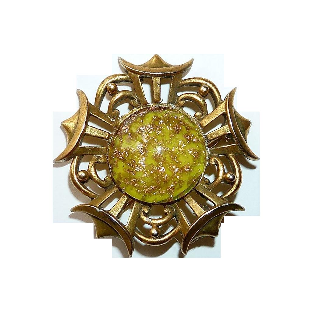 Barclay Lemon Art Glass Gold Swirl Pin c1950s