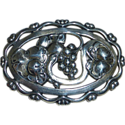 Coro Norseland Sterling Pin Grapes & Leaves