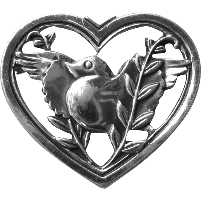 Coro Designer Sterling Pin Dove in a Heart with Vines