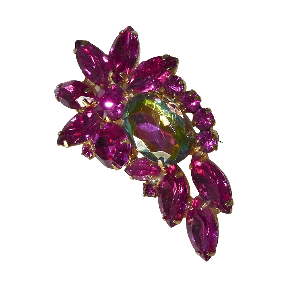 Juliana Large Watermelon & Fuchsia Rhinestone Pin