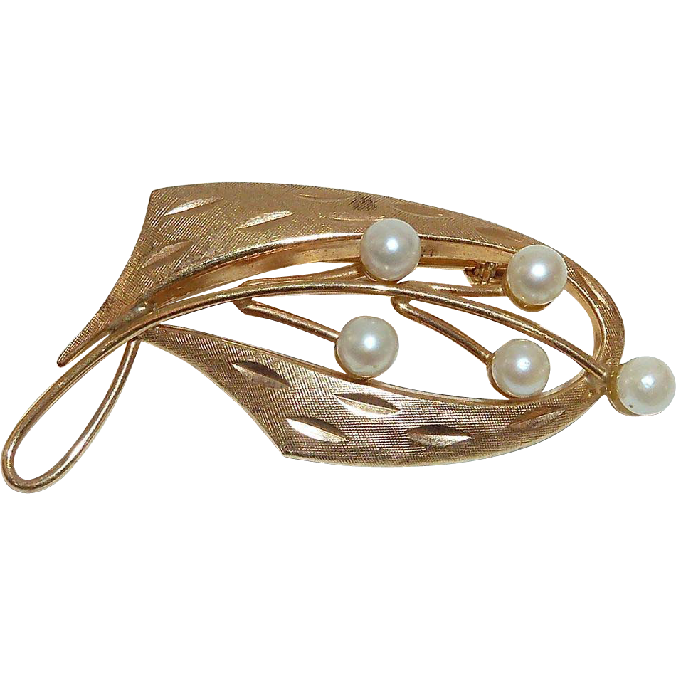 Uncas Gold Filled Modernist Pin w Cultured Pearls