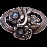 Georg Jensen Sterling Floral Pin 3 Moonstones