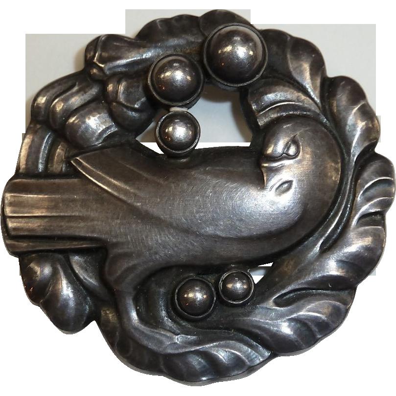 Georg Jensen Sterling Silver Dove Pin w Silver Pearls