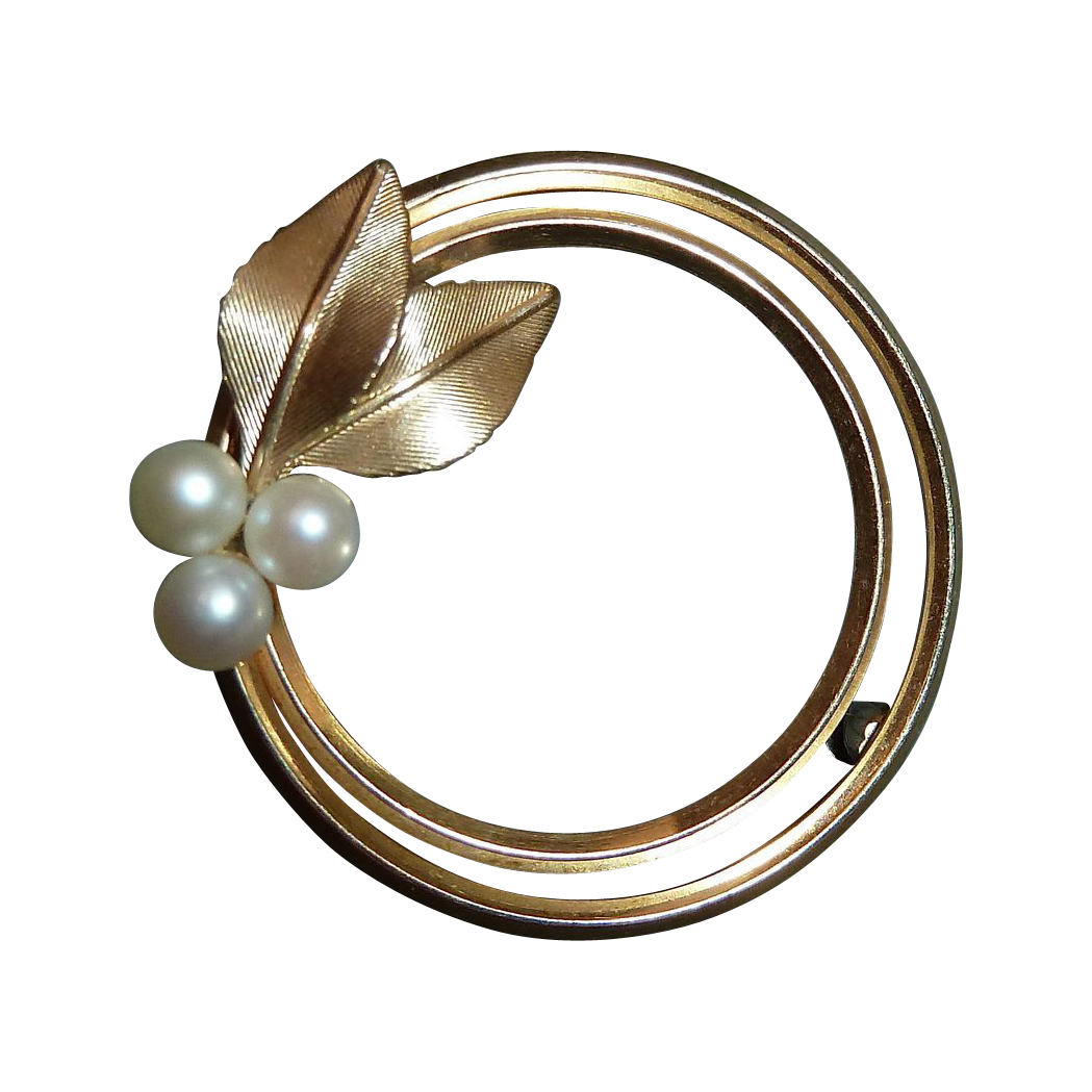 Krementz Double Circle Pin w Cultured Pearls & Leaves