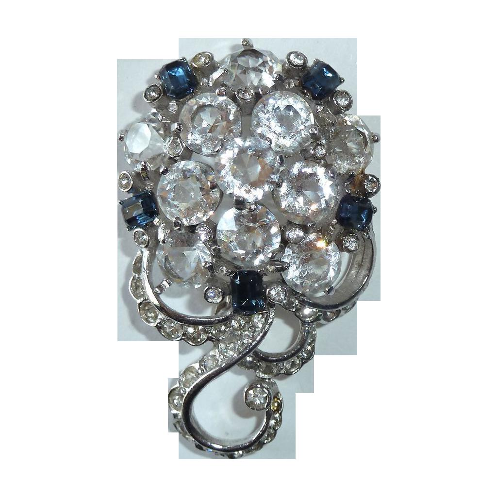Dazzling 1940s REJA Sapphire Blue & White Rhinestone Pin
