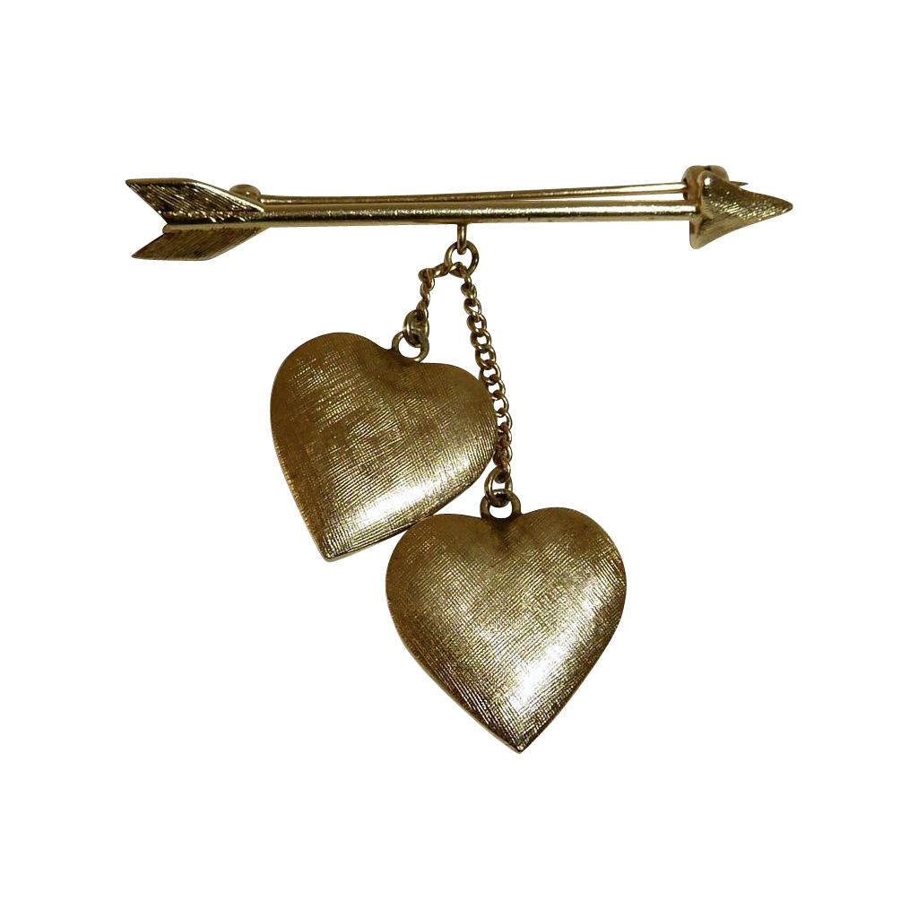 Tiffany 14k Pin Arrow & Double Hanging Hearts