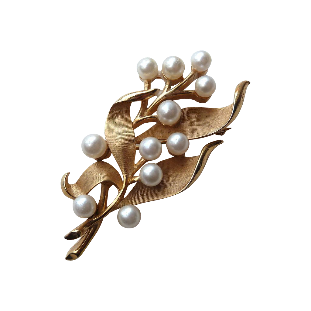 Trifari Brushed Gold Tone Pin w Pearls