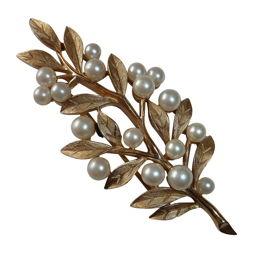 Trifari Brushed Gold Tone Leafy Branch Pin Faux Pearl Berries