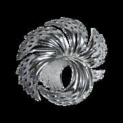 Trifari Silver Tone Sculptural Swirl Pin