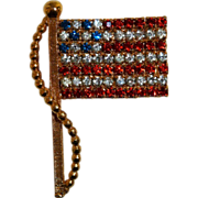 Patriotic US American Flag Pin Red White Blue Rhinestones