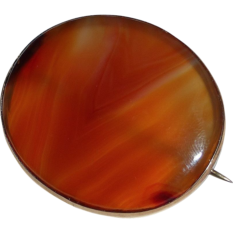 Antique 9k Edwardian Hallmarked Agate Pin