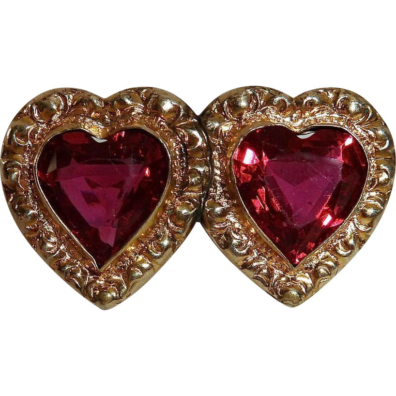 Victorian Revival Double Red Glass Hearts GF Embossed Frame