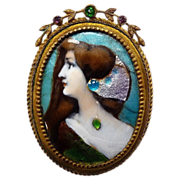 Antique Victorian Enamel Pin Elegant Woman Portrait