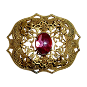 Victorian Gilt Brass Pink Glass Jewel Sash Ornament Pin