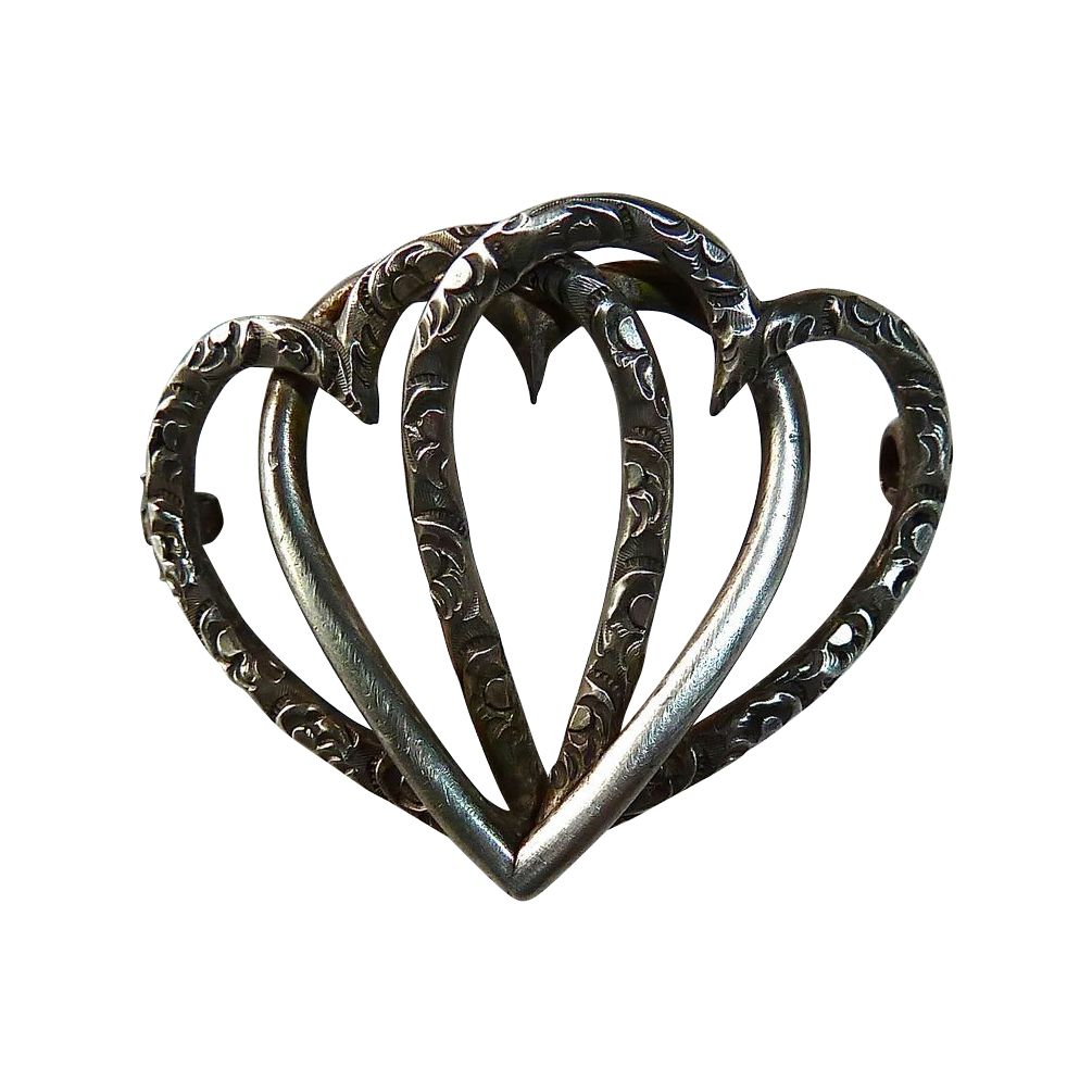 Victorian Sterling Entwined Triple Heart Antique Pin