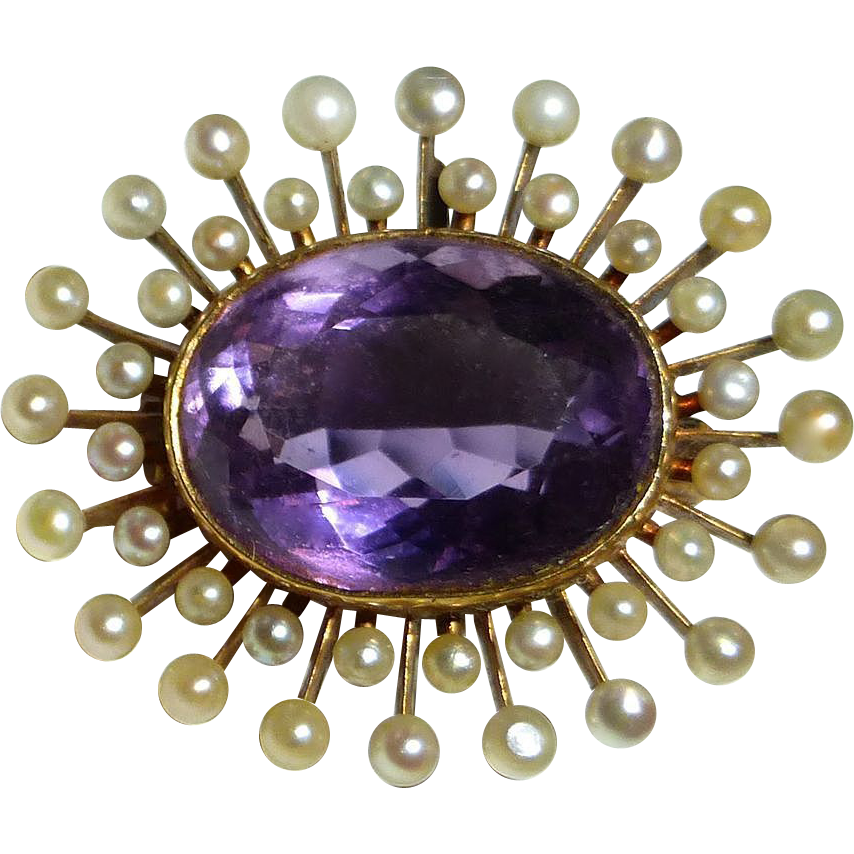 Antique Victorian Amethyst Pearl Burst Watch Pin