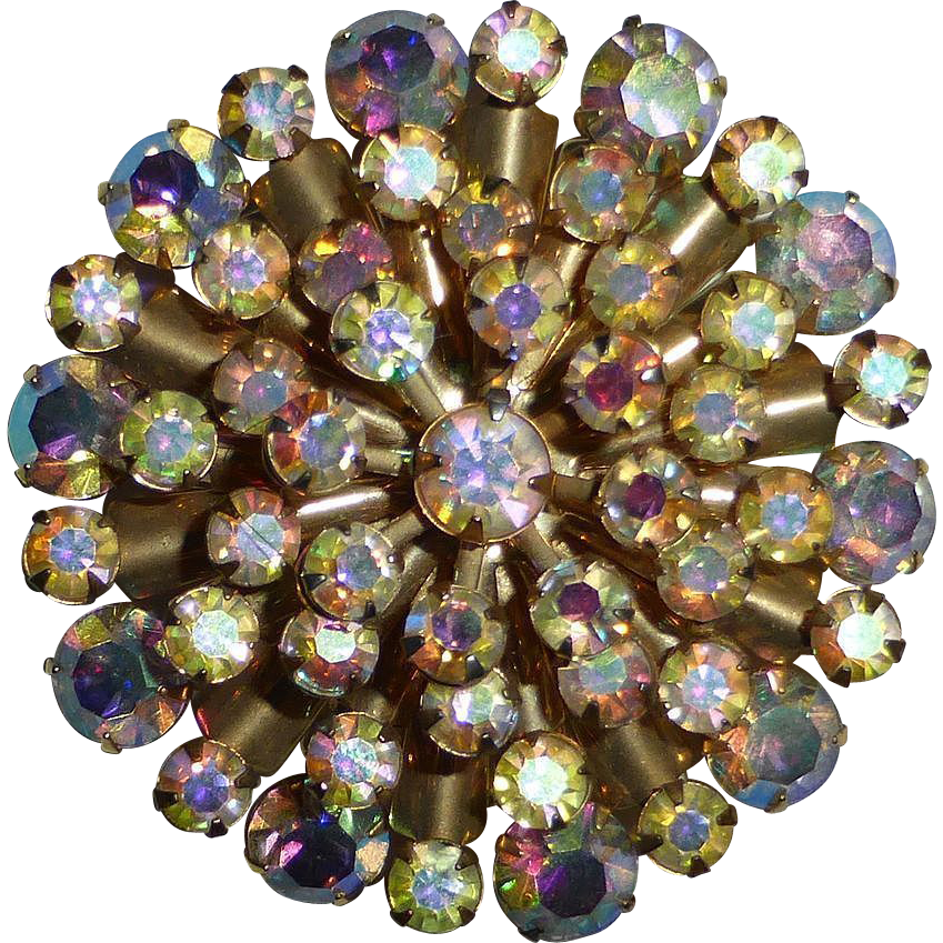 Sparkling AB Rhinestone Layered Gold Tone Starburst Pin