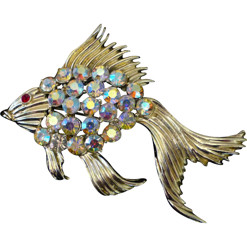 Flashy Aurora Borealis Rhinestone Fish Pin