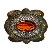 Antique Victorian Lg Brass Sash Ornament Brooch Amber Jewel