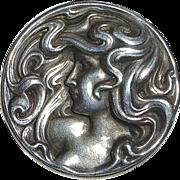 Art Nouveau Repousse Sterling Woman Watch Pin