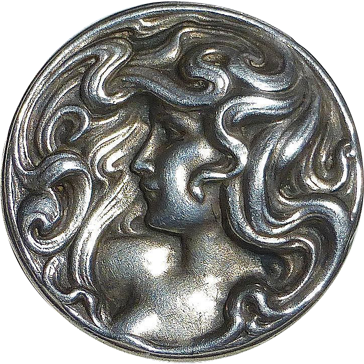 Art Nouveau Repousse Sterling Woman Watch Pin