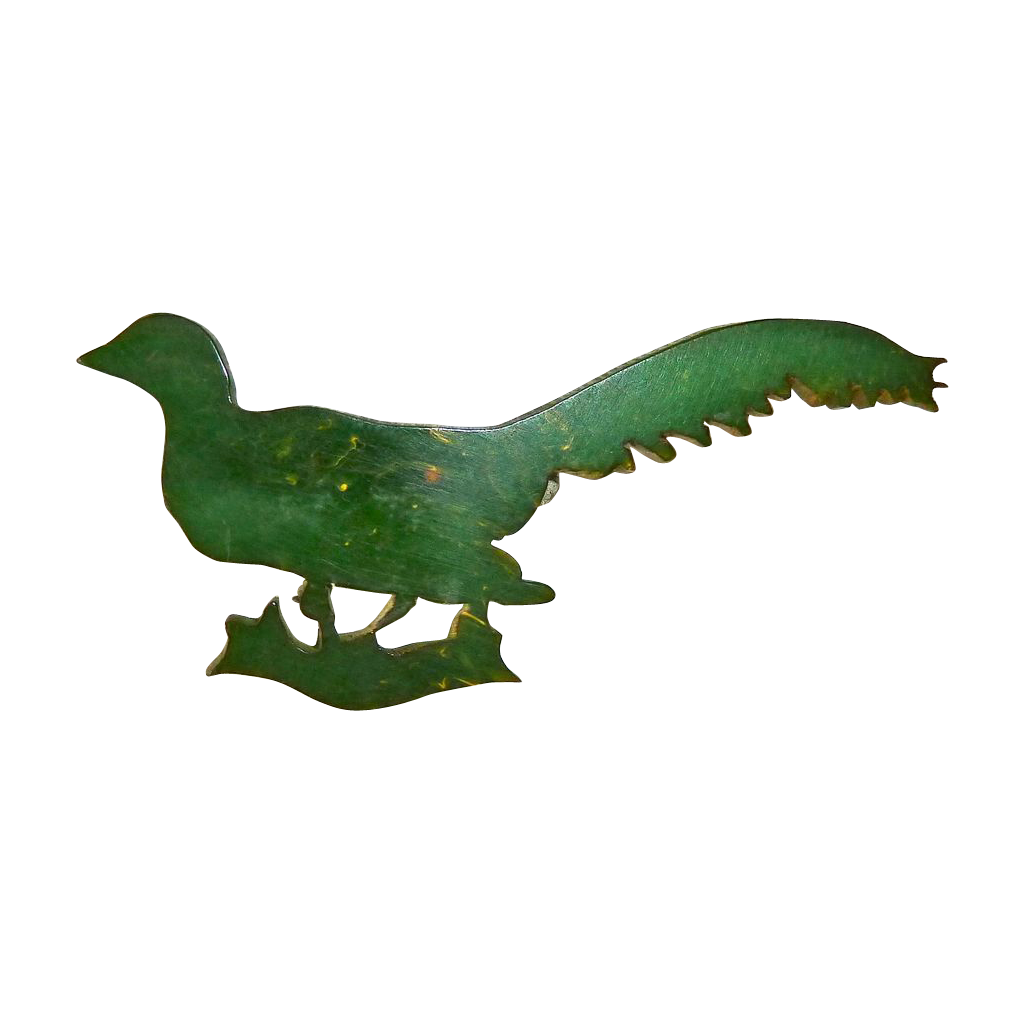 End of the Day Green Bakelite Bird Pin
