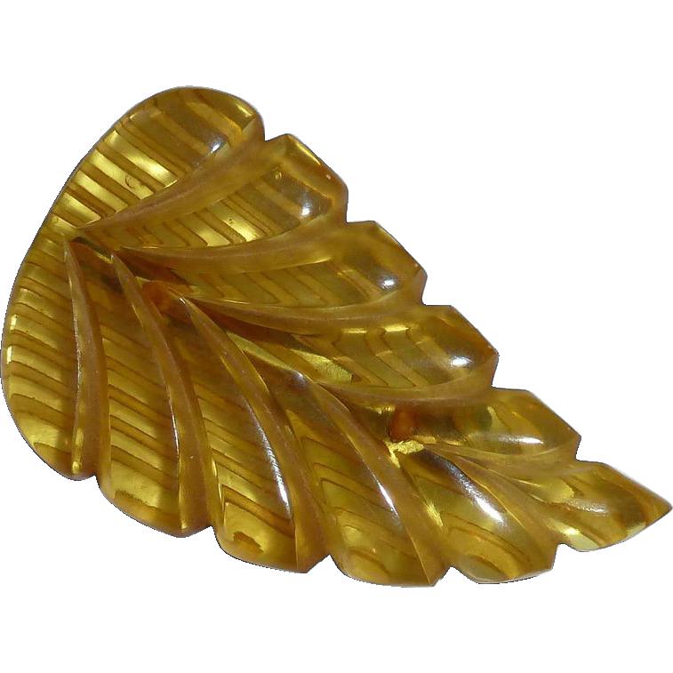 Figural Applejuice Bakelite Reverse Carved Leaf Pin c1930s