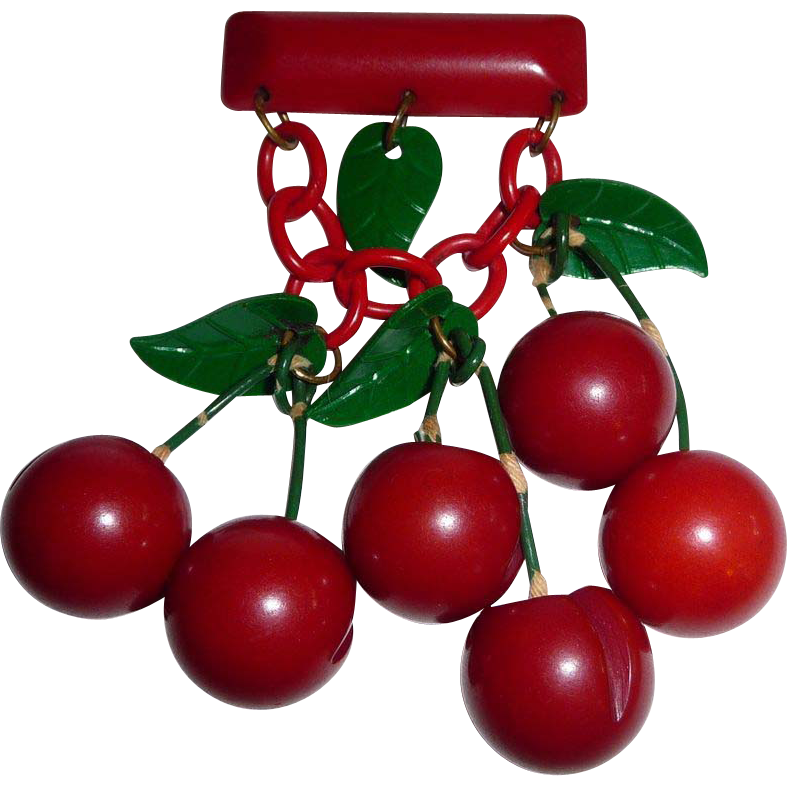 Art Deco Dangling Bakelite Cherries Celluloid Leaves Pin