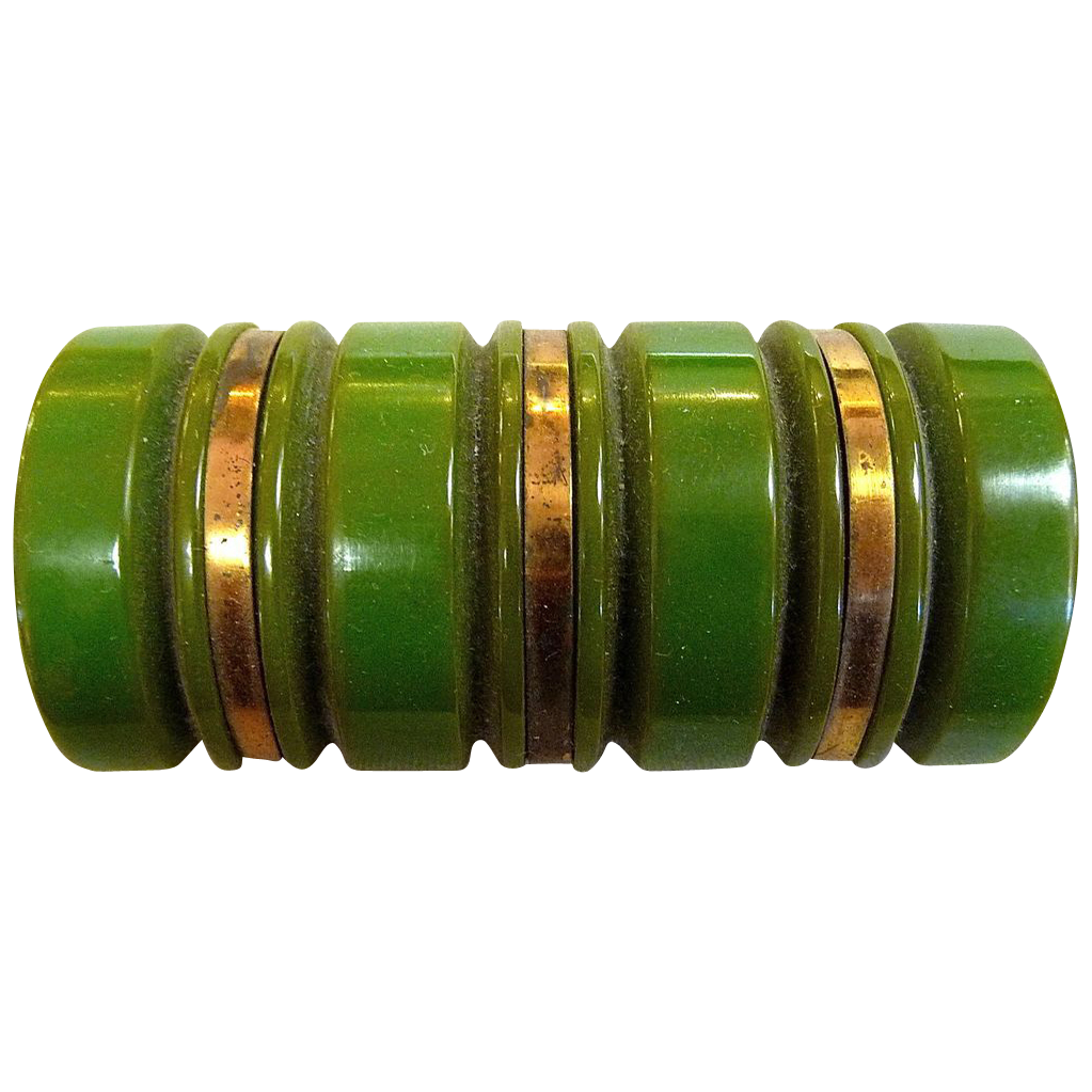 Chunky Art Deco Carved Bakelite Bar Pin with Gilt Stripes