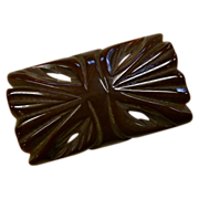 Chocolate Carved & Pierced Bakelite Pin