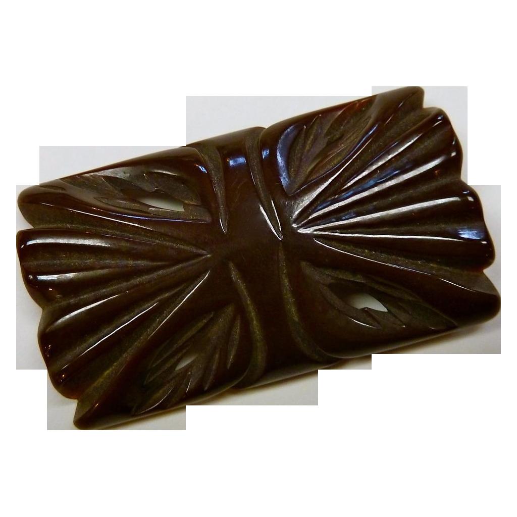 Chocolate Carved & Pierced Bakelite Pin