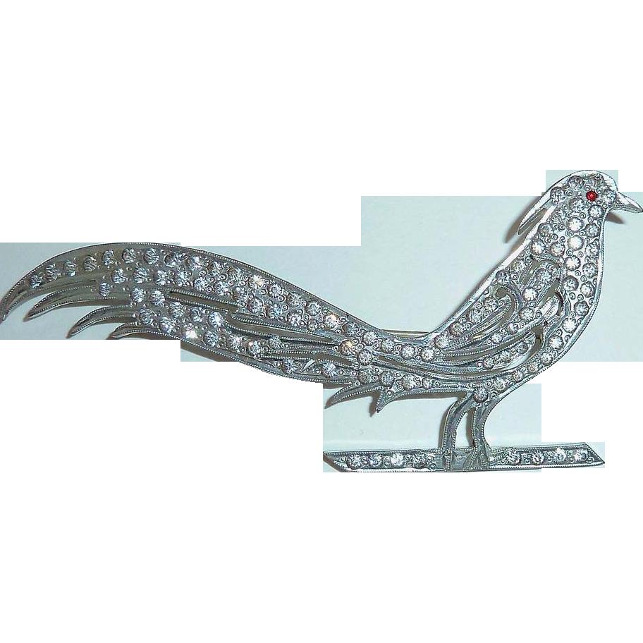 Art Deco Deep Set Paste Rhinestone Exotic Bird Pin