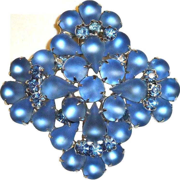 Frosted Blue Glass & Rhinestone Large Layered Pin