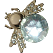 Whimsical Bug Winged Pin w Mirrored Glass Jewel Body
