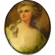 Renaissance Woman Celluloid Portrait Pin
