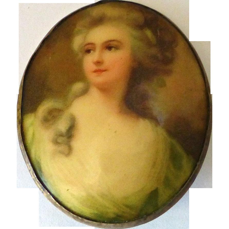 Renaissance Woman Celluloid Portrait Pin