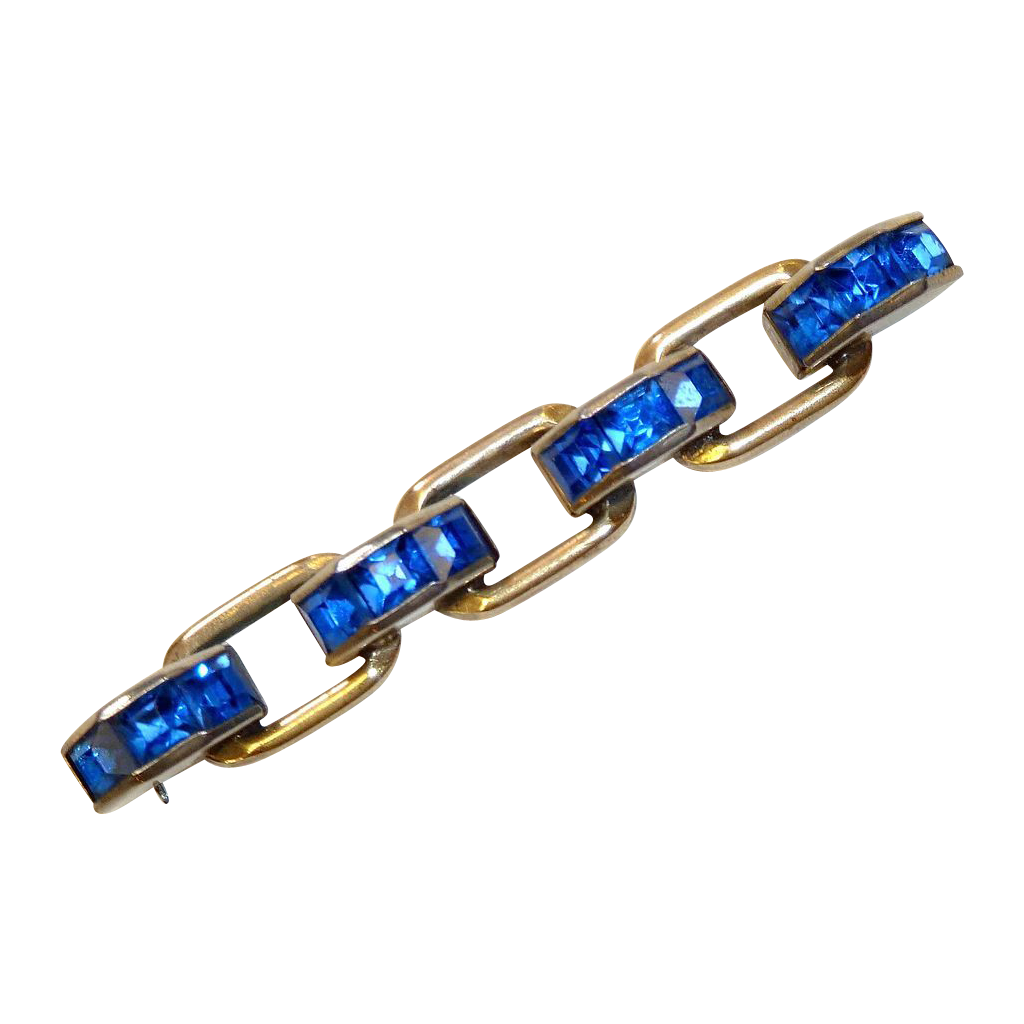 Art Deco Chain Gilt Link Pin Sapphire Blue Paste Stones