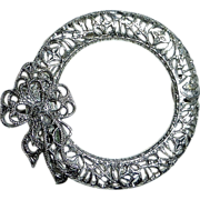 Rhodium Filigree Circle Pin w Bow