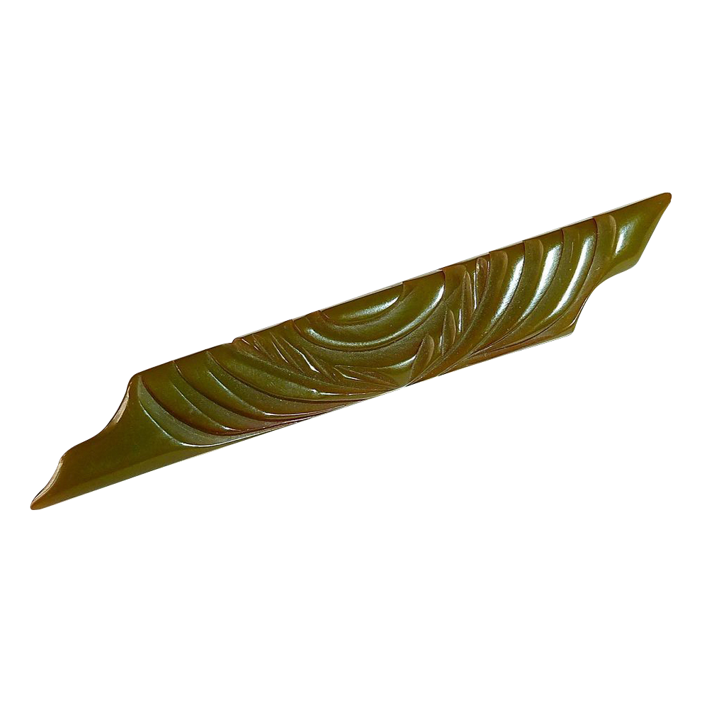 Art Deco Carved Olive Green Bakelite Bar Pin