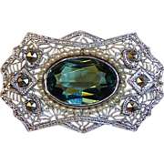 Art Deco Pin Rhodium Finish Filigree Tourmaline Glass Jewel