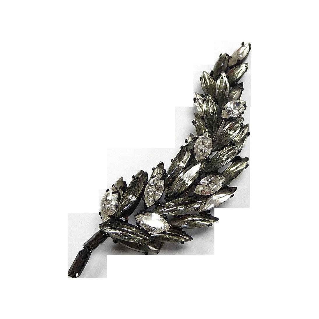 Vintage Regency White & Gray Japanned Leaf Pin