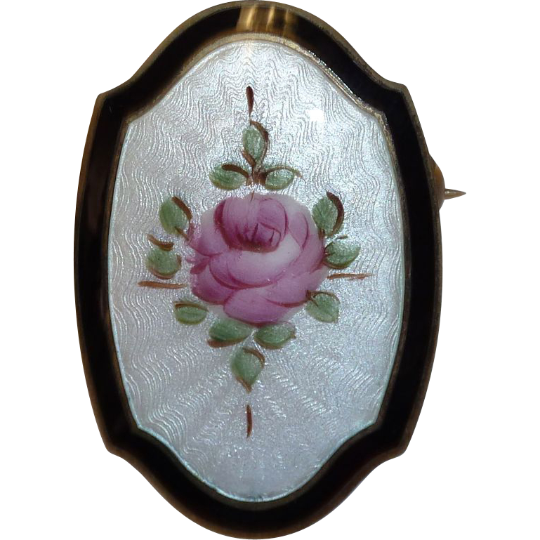 Art Deco Guilloche Enamel Rose Pin