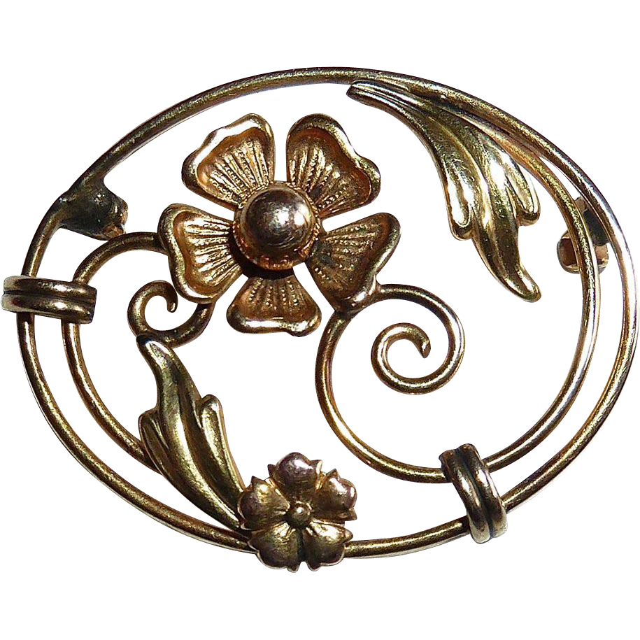 Carl Art Rose & Yellow Sculptural Gold Filled Floral Pin