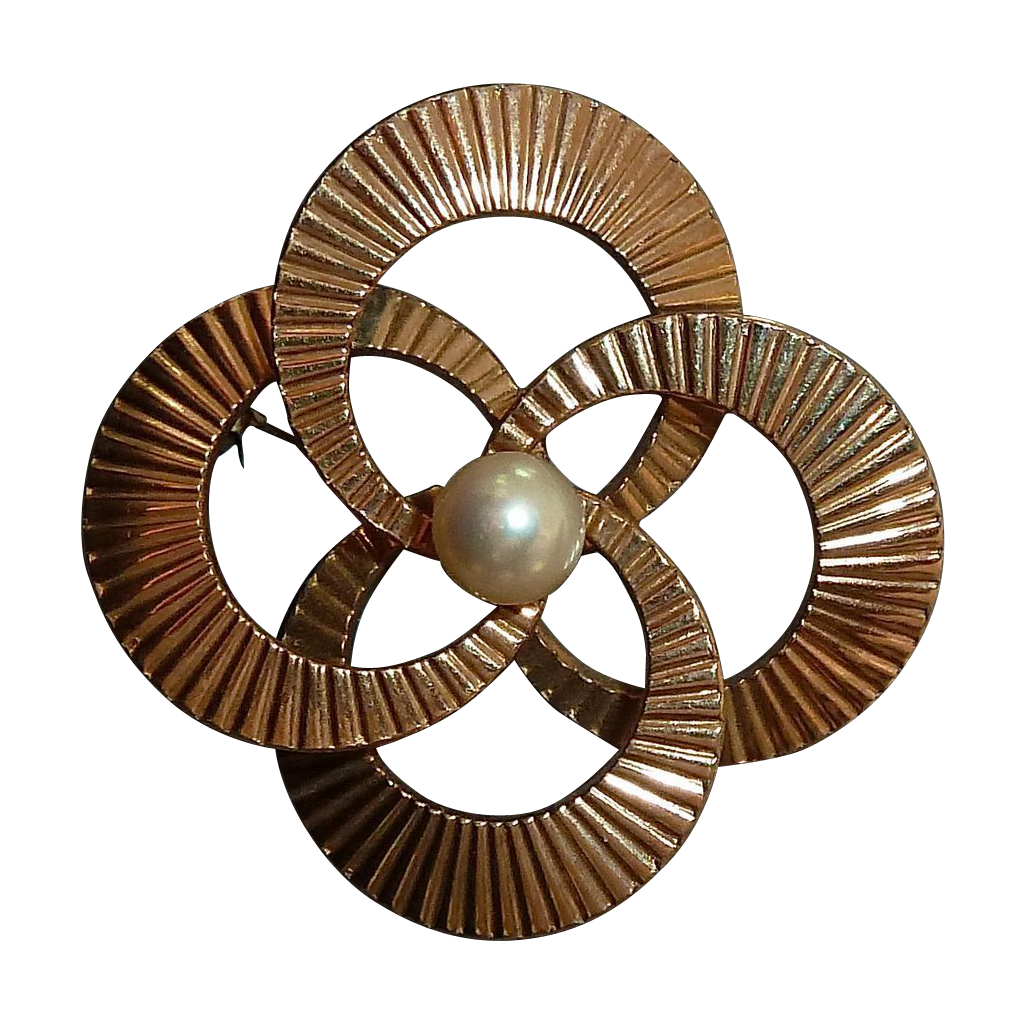 Gold Filled WRE Swirling Circles Pin Cultured Pearl Pin