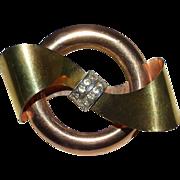 Rose & Yellow GF Taylord Bow Circle Pin