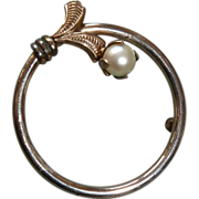 Loran Sim Gold Filled Circle Pin w Cultured Pearl
