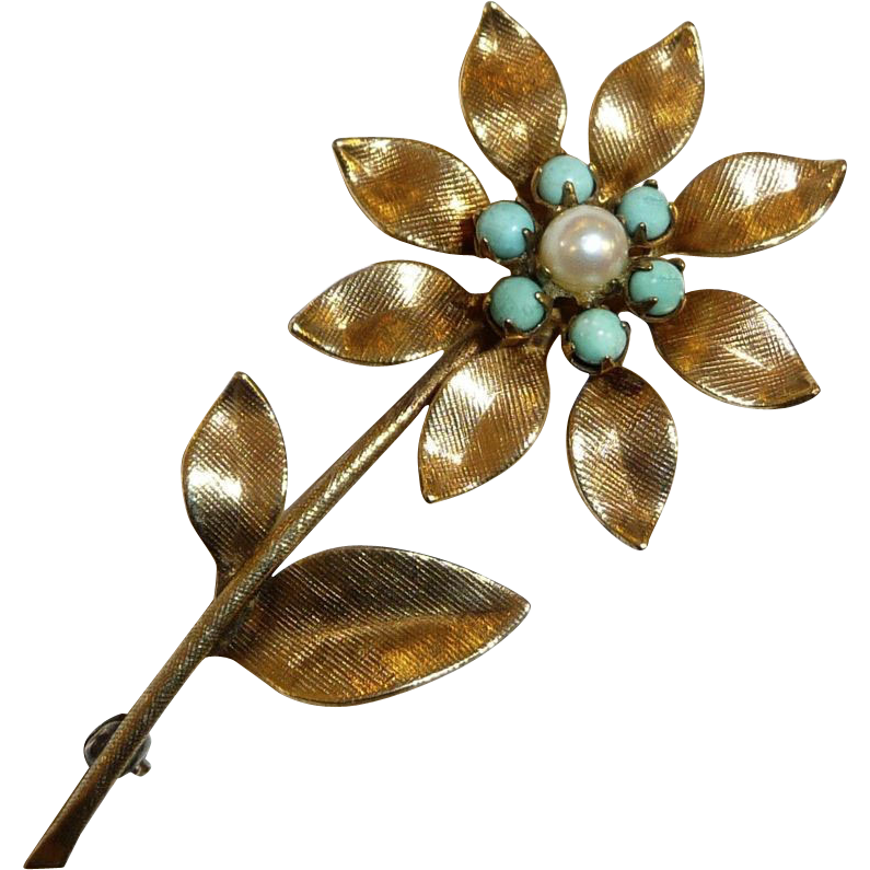 Gold Filled Winard Daisy Pin w Turquoise & Cultured Pearl