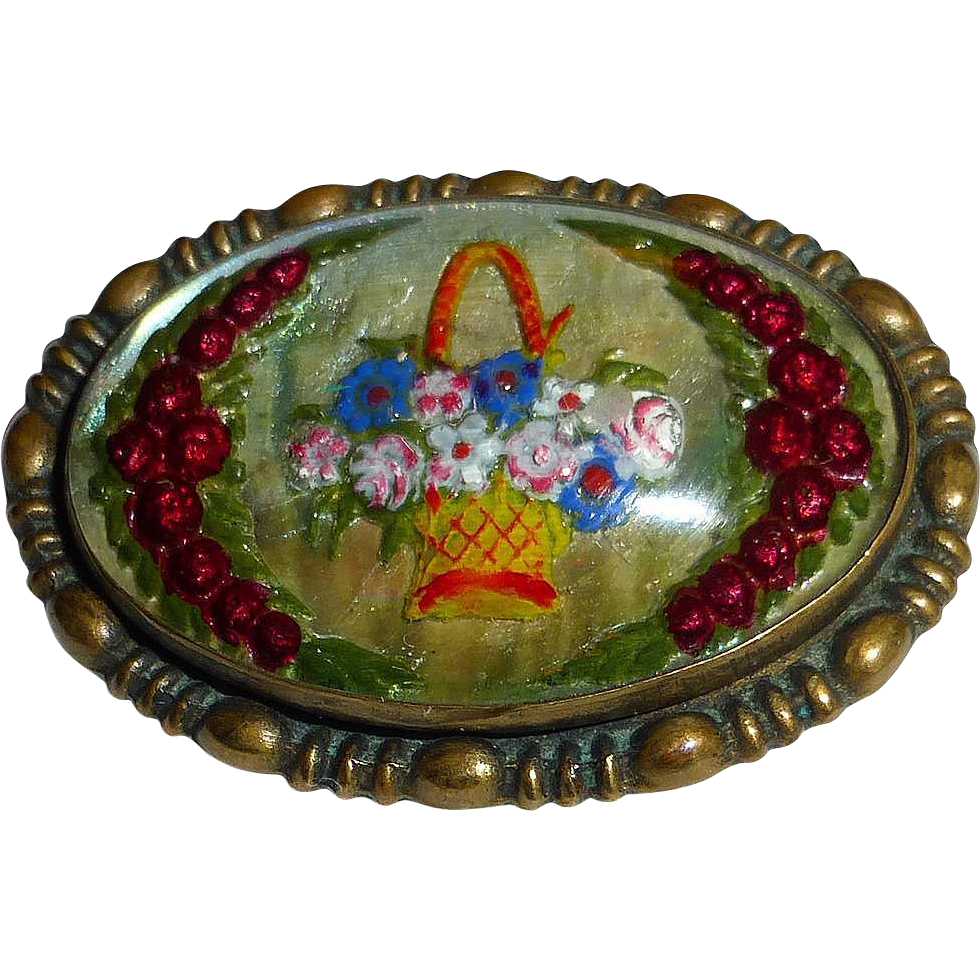 Art Deco Reverse Carved Painted Glass Flower Basket Intaglio Pin