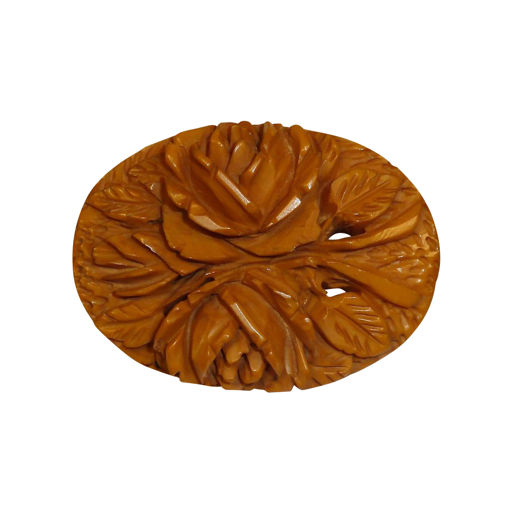 Carved Butterscotch Bakelite Rose Bouquet Pin