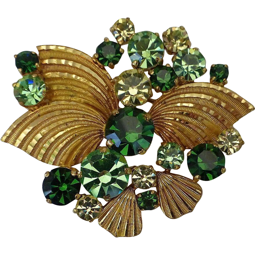 Shades of Green Gold Plated Rhinestone Pin